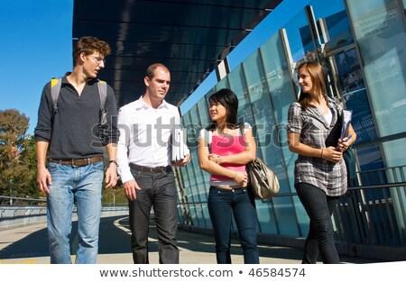 Diákok könyvek mappák kampusz oktatás emberek Stock fotó © dolgachov