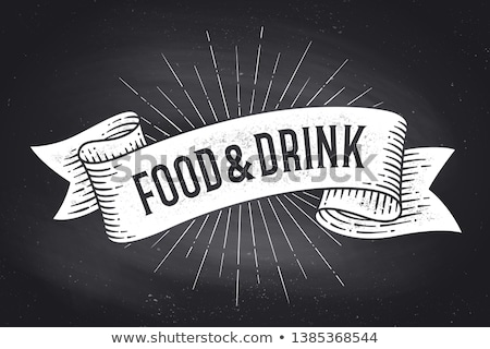 Food and Drink. Old school vintage ribbon banner Stock photo © FoxysGraphic