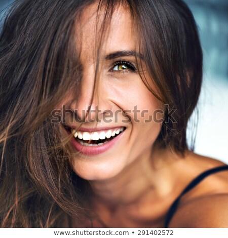 Heureux émotion femme souriante naturelles composent émotionnel Photo stock © Pilgrimego