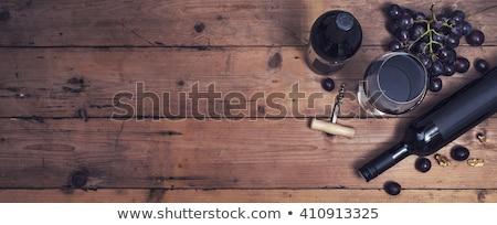 Bouteilles vin tire-bouchon bois espace bar Photo stock © OleksandrO