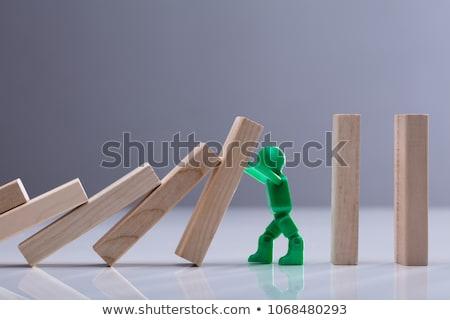 Emberi alkat tömés fából készült kockák oldalnézet Stock fotó © AndreyPopov