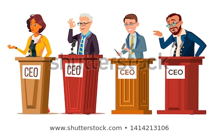 Stock photo: Character Ceo Talking From Tribune Set Vector