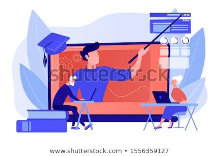 Online learning for seniors concept vector illustration Stock photo © RAStudio