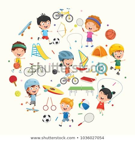 basketbal · kinderen · illustratie · groep · jongens · spelen - stockfoto © bluering