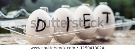 the concept of diet dietary eggs in a container banner long format stock photo © galitskaya