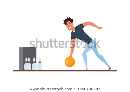 Karikatür erkek bowling örnek bowling topu Stok fotoğraf © bennerdesign