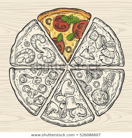 cor · vegetal · italiano · fatia · peça · pizza - foto stock © pikepicture