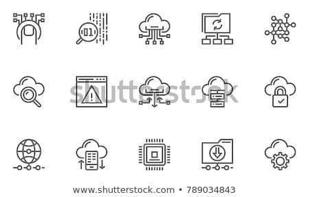 Grande dados análise segurança de dados linha ícones Foto stock © soleilc