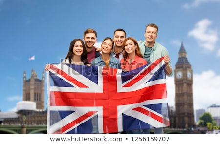 Frau · Flagge · Großbritannien · halten · Computer · Mädchen - stock foto © dolgachov