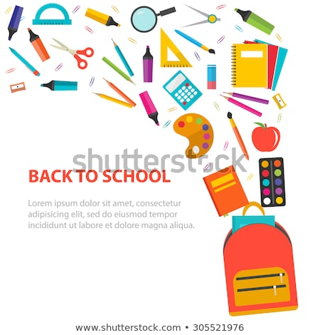 School Supplies Satchels and Books Bags Set Icon Stock photo © robuart