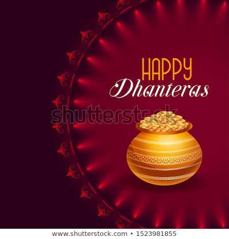 decorative happy dhanteras festival card with golden pot  Stock photo © SArts
