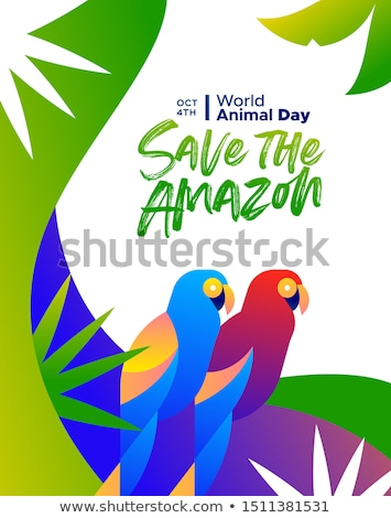 World animal day poster amazon forest parrot birds Stock photo © cienpies