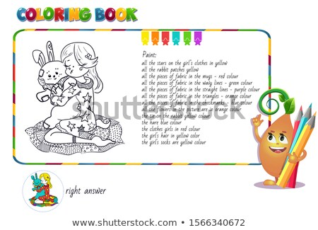 puzzle girl hugging a soft toy rabbit  Stock photo © Olena
