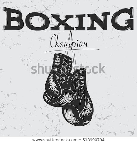 Boxkesztyű sport képzés monokróm vektor sportoló Stock fotó © pikepicture