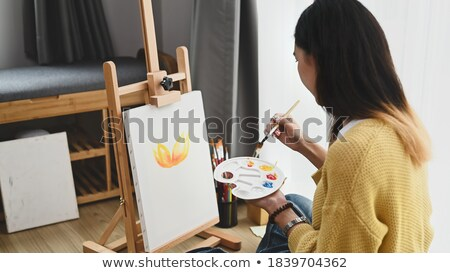 Woman Drawing Picture, Hobby of Lady with Brush Stock photo © robuart