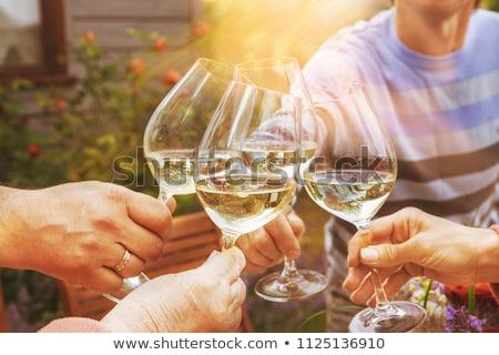 Kezek csoportkép éljenez fehérbor emelkedő szemüveg Stock fotó © dashapetrenko