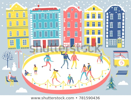 Boy Sliding on Ice Rink Stock photo © leedsn