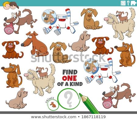 one of a kind game for kids with comic dogs Stock photo © izakowski