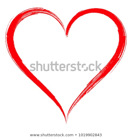 Silhouette red heart shape symbol of love. Valentines day icon Stock photo © orensila