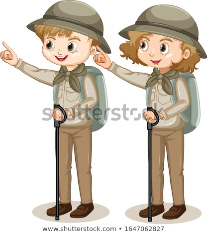 Girl in safari outfit with walking stick and backpack Stock photo © bluering
