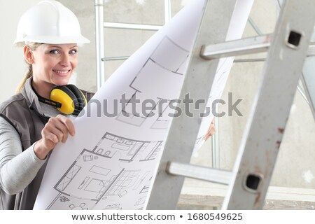 Construction worker and builder on scaffolding reading the plan Stock photo © Kzenon