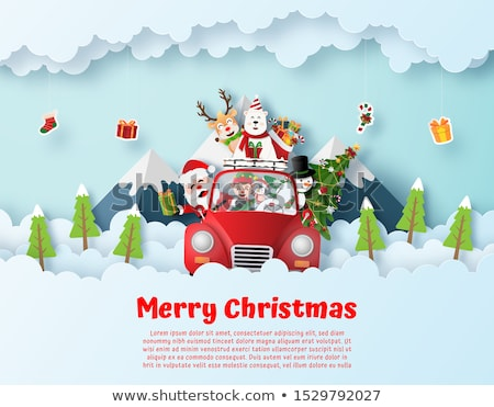 Christmas Greeting Postcard Elf in City Vector Stock photo © robuart