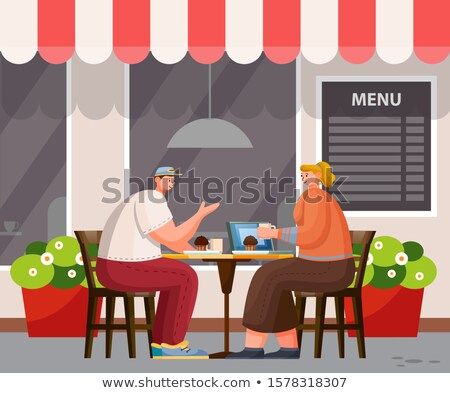People Have Lunch Outdoor, Cafeteria Exterior Stock photo © robuart