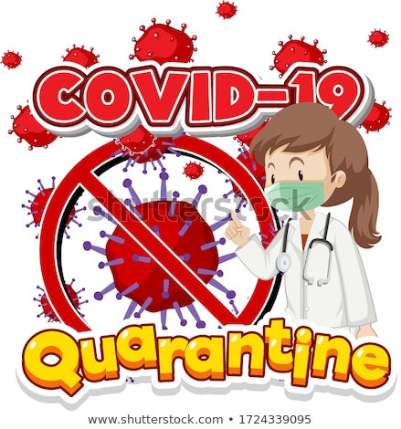 poster design for coronavirus theme with doctors and virus cells stock photo © bluering