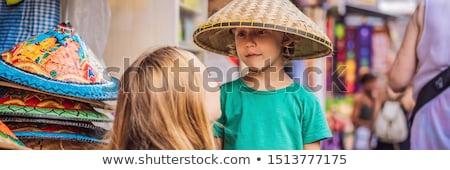 Maman fils choisir marché bali Indonésie Photo stock © galitskaya