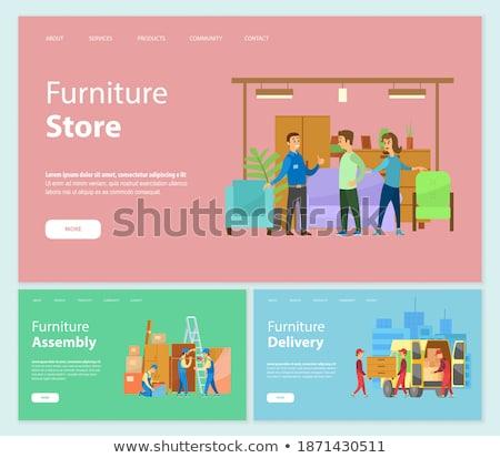 Meubles magasin vendeur clientèle magasin vecteur Photo stock © robuart