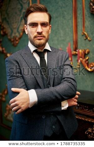 Bonito homem maduro em pé luxuoso apartamento negócio Foto stock © boggy