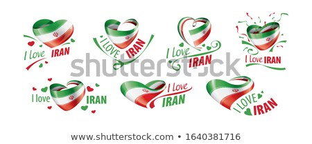 National flag of the Iran in the shape of a heart and the inscription I love Iran. Vector illustrati Stock photo © butenkow