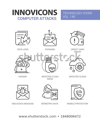 Computer attacks - line design style icons set Stock photo © Decorwithme