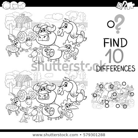 Diferenças tarefa desenho animado animais de fazenda ilustração Foto stock © izakowski