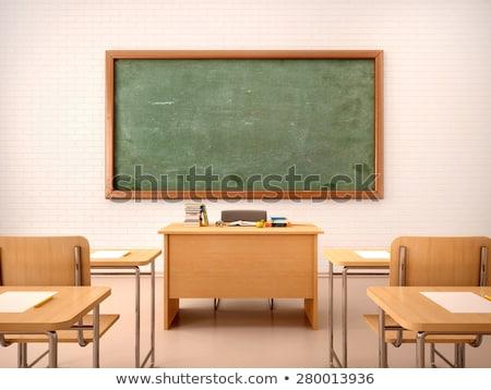 Classroom with Blackboard and Teacher Table Room Stock photo © robuart