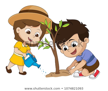 Wolontariusze drzewo odizolowany cartoon Zdjęcia stock © robuart