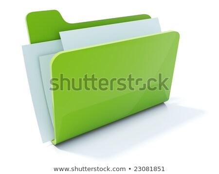 3D · folderze · zielone · pliku · papieru · danych - zdjęcia stock © dariusl
