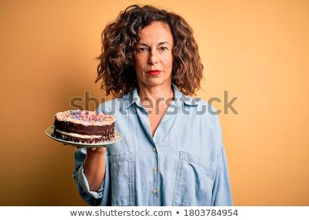 Stockfoto: Eten · senior · vrouw · gelukkig · kom · tuin