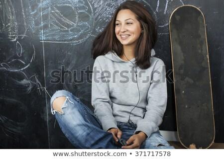 Cute uśmiech nastolatek uczennica szczęśliwy dość Zdjęcia stock © darrinhenry