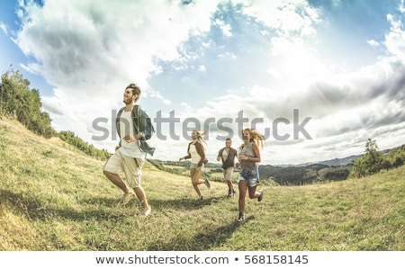 Young woman happy free moment in country sun Stock photo © darrinhenry