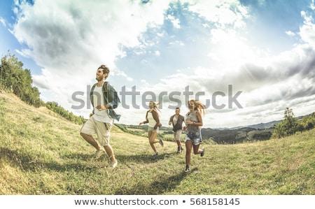mulher · jovem · feliz · livre · momento · país · sol - foto stock © darrinhenry
