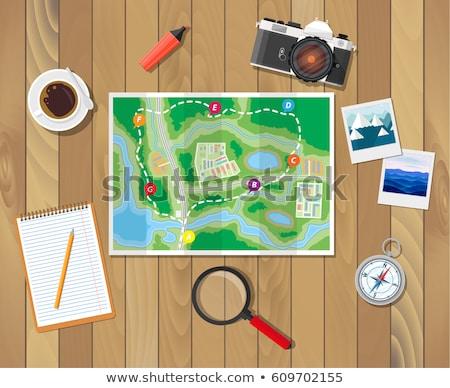 Turisztikai térkép ceruza egy rajz kör Stock fotó © Traven