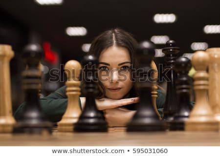 Woman playing chess Stock photo © photography33