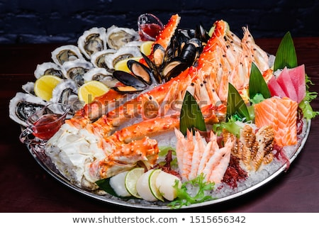 homard · crevettes · queue · blanche · plaque · table - photo stock © stevemc