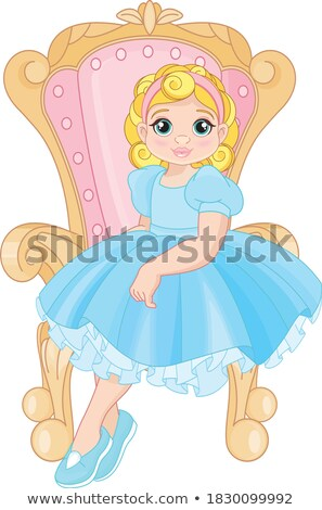 Beautiful blonde girl playing with a dolly, vector Stock photo © carodi