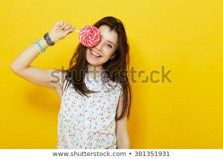 少女 食べ キャンディー 開く 子供 目 ストックフォト © photography33