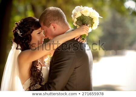 Alegremente sorridente noivo roxo sorrir moda Foto stock © pzaxe
