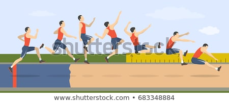 Man long jump. Sport. Track and field. Vector illustration Stock photo © leonido