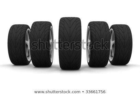 Stock photo: Perspective view of five new car wheels