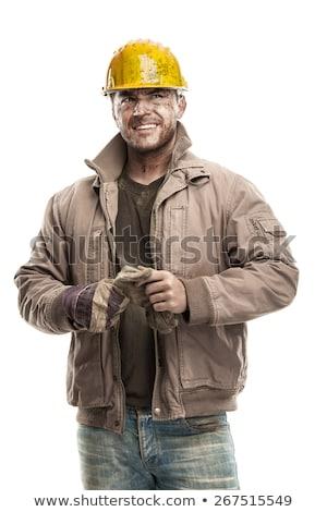 Mutlu yalıtılmış beyaz adam inşaat çalışmak Stok fotoğraf © photography33